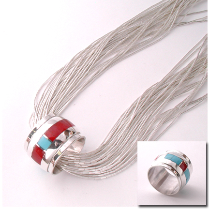 Inlaid Barrel Bead: Coral and Turquoise (made to order)