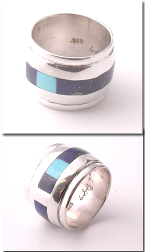 Inlaid Barrel Bead: Lapis and and Turquoise (made to order)
