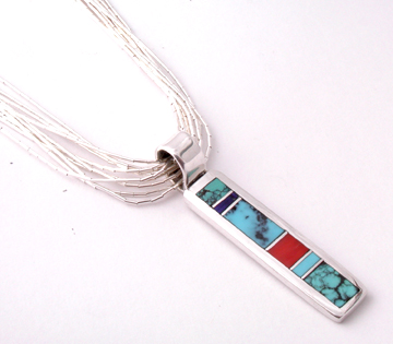 Multistone Inlaid Bar Pendant By Erick Begay