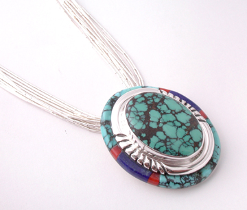 Layered Inlaid Turquoise Pendant NK7