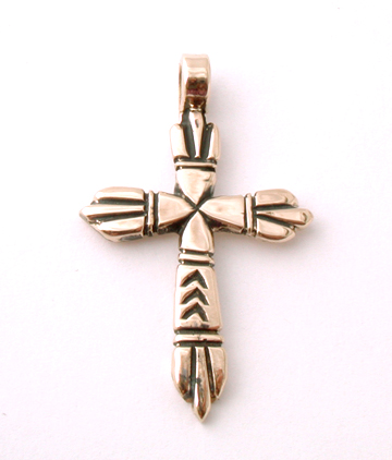14k Gold  Sandcast Cross by Erick Begay