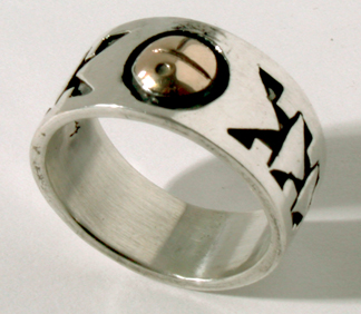 Silver and Gold Sunface Ring