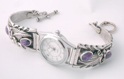 Purple Charoite Sterling Silver Watch