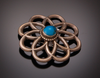 Turquoise Sandcast Pin