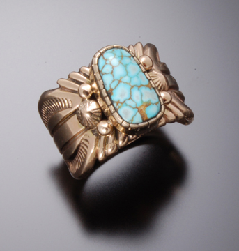 NUMBER 8 SPIDERWEB TURQUOISE GOLD RING- made to order