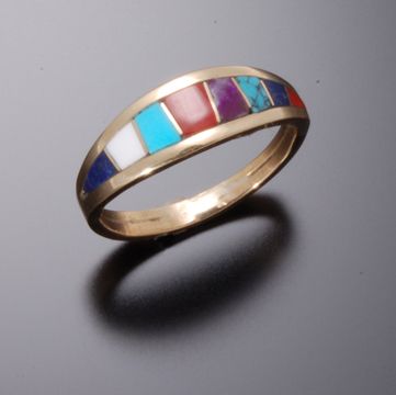 MULTISTONE INLAY GOLD RING