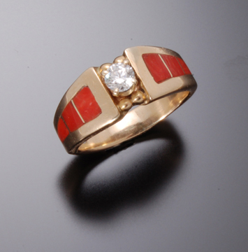 .25 CT DIAMOND AND CORAL INLAY RING